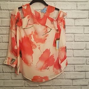 CeCe Poppy Fields Cold Shoulder Floral Blouse NWT